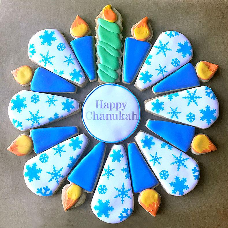 Sweetly in St. Louis by Rachel Katzman custom cookie platter for Hanukkah